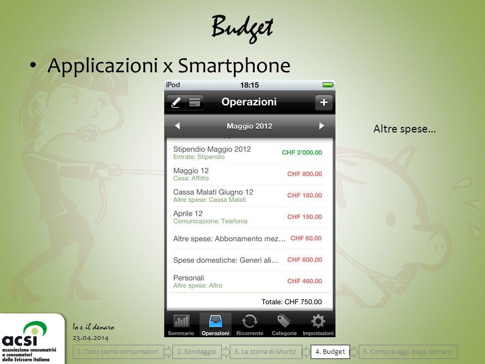 23.04.2014 Budget Io e il denaro Applicazioni x Smartphone Altre spese… 4.