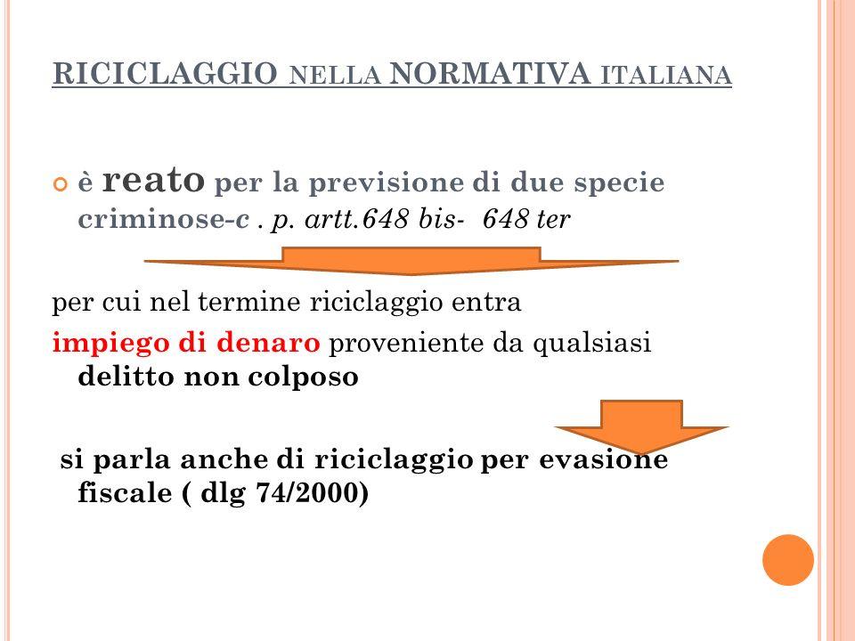 RICICLAGGIO NELLA NORMATIVA ITALIANA è reato per la previsione di due specie criminose -c.