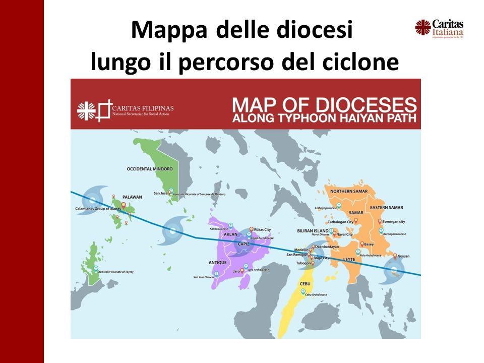 Mappa delle diocesi lungo il percorso del ciclone