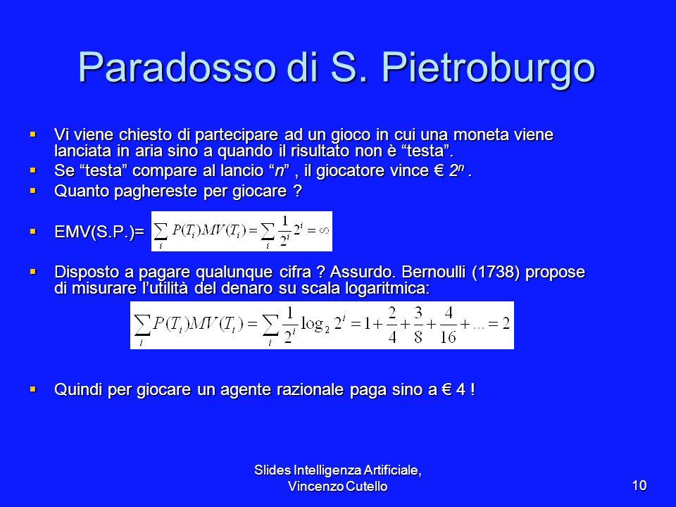 Slides Intelligenza Artificiale, Vincenzo Cutello10 Paradosso di S. Pietroburgo Vi viene chiesto di partecipare ad un gioco in cui una moneta viene la