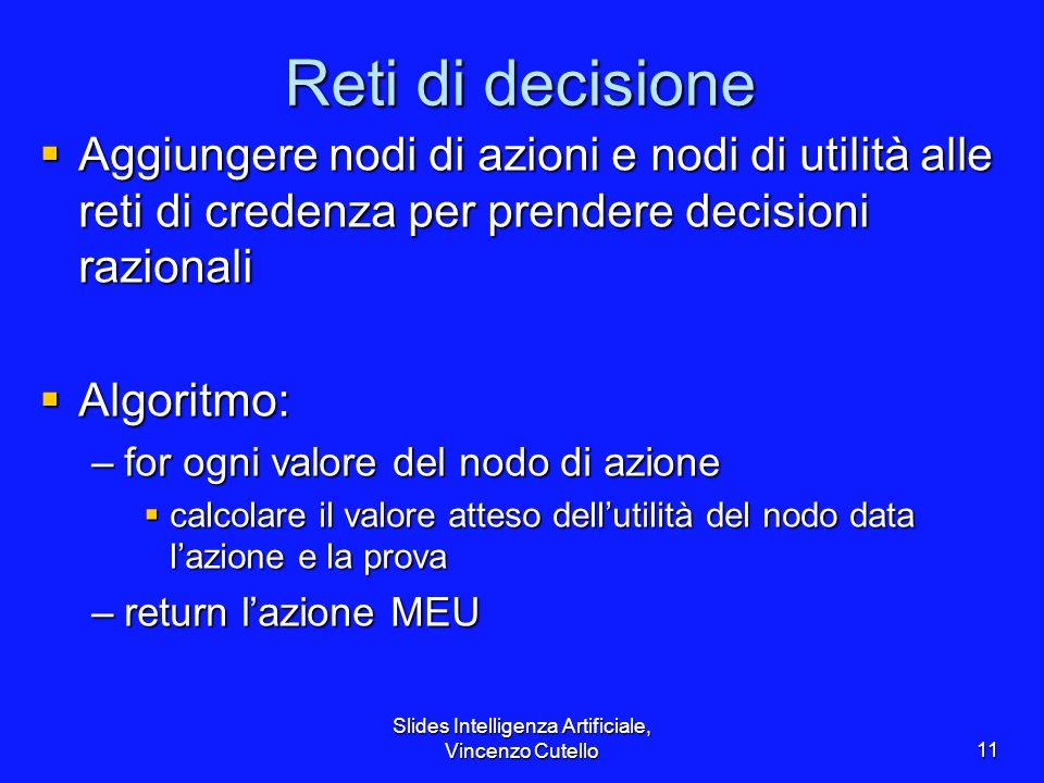 Slides Intelligenza Artificiale, Vincenzo Cutello11 Reti di decisione Aggiungere nodi di azioni e nodi di utilità alle reti di credenza per prendere d