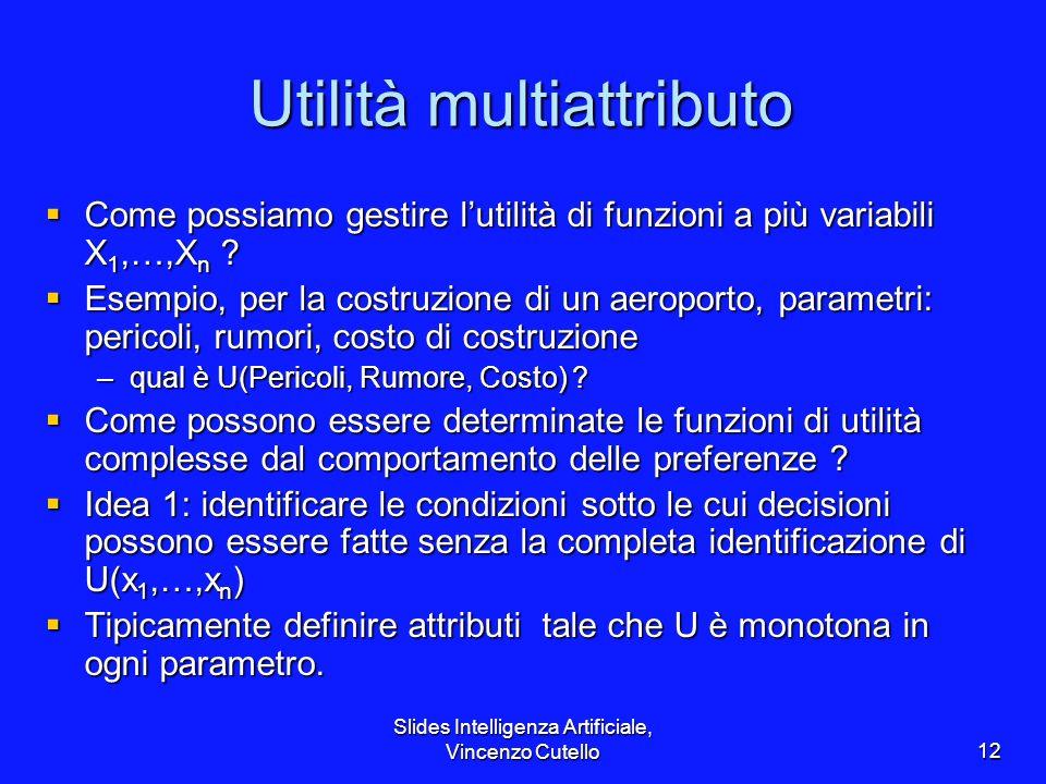 Slides Intelligenza Artificiale, Vincenzo Cutello12 Utilità multiattributo Come possiamo gestire lutilità di funzioni a più variabili X 1,…,X n ? Come