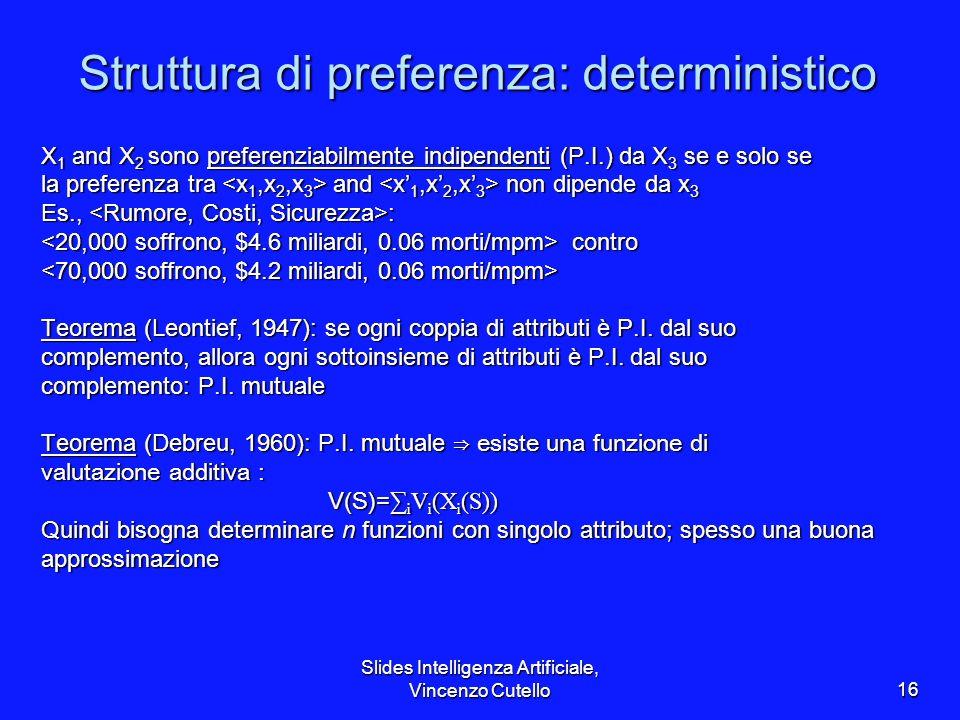 Slides Intelligenza Artificiale, Vincenzo Cutello16 Struttura di preferenza: deterministico X 1 and X 2 sono preferenziabilmente indipendenti (P.I.) d
