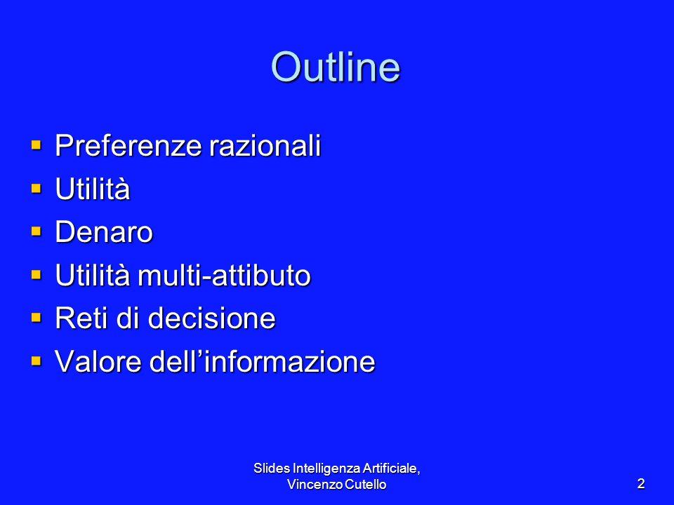 Slides Intelligenza Artificiale, Vincenzo Cutello2 Outline Preferenze razionali Preferenze razionali Utilità Utilità Denaro Denaro Utilità multi-attib