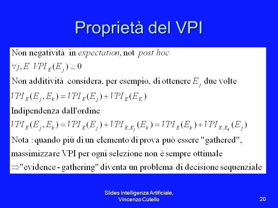 Slides Intelligenza Artificiale, Vincenzo Cutello20 Proprietà del VPI