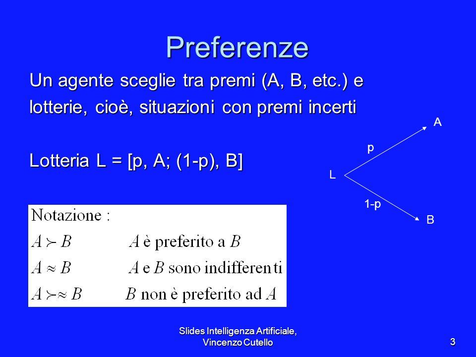 Slides Intelligenza Artificiale, Vincenzo Cutello3 Preferenze Un agente sceglie tra premi (A, B, etc.) e lotterie, cioè, situazioni con premi incerti