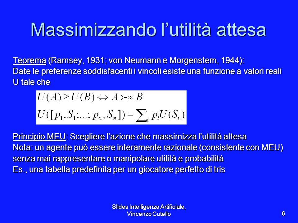 Slides Intelligenza Artificiale, Vincenzo Cutello6 Massimizzando lutilità attesa Teorema (Ramsey, 1931; von Neumann e Morgenstern, 1944): Date le pref