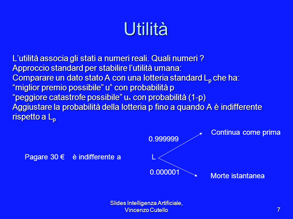 Slides Intelligenza Artificiale, Vincenzo Cutello8 Scale di utilità Utilità normalizzate: u ^ = 1.0, u ^ = 0.0 Micromorts: un milionesimo della possibilità di morire Micromorts: un milionesimo della possibilità di morire –utile per la roulette russa, pagamento per ridurre i rischi prodotti, etc., QALYs: quality-adjusted life years QALYs: quality-adjusted life years –Utile per decisioni mediche comportanti un rischio sostanziale Note: il comportamento è invariante per trasformazioni lineari U(x) = k 1 U(x) + k 2 dove k 1 > 0