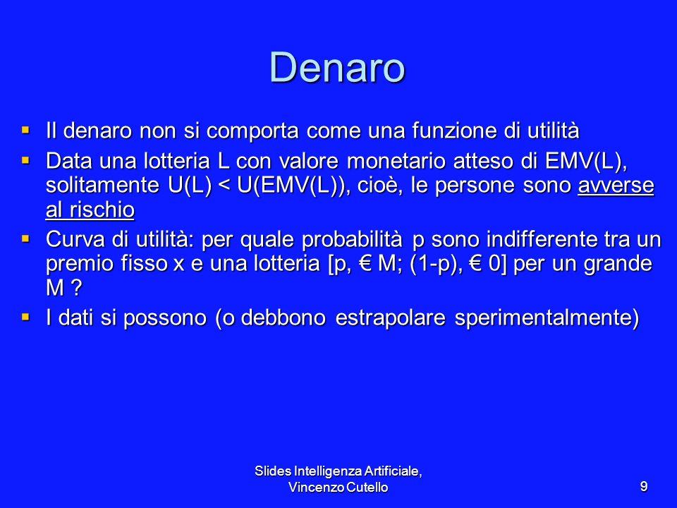 Slides Intelligenza Artificiale, Vincenzo Cutello9 Denaro Il denaro non si comporta come una funzione di utilità Il denaro non si comporta come una fu