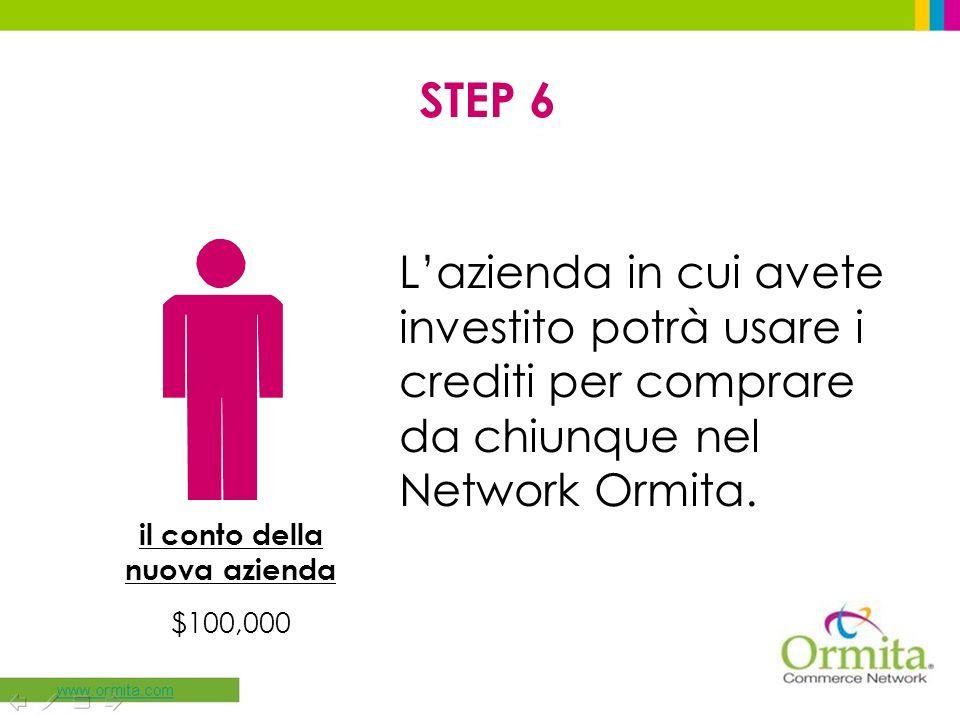 STEP 6 Lazienda in cui avete investito potrà usare i crediti per comprare da chiunque nel Network Ormita. il conto della nuova azienda $100,000