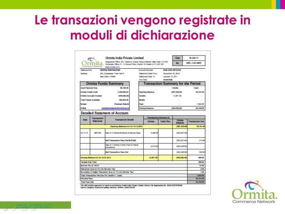 Le transazioni vengono registrate in moduli di dichiarazione