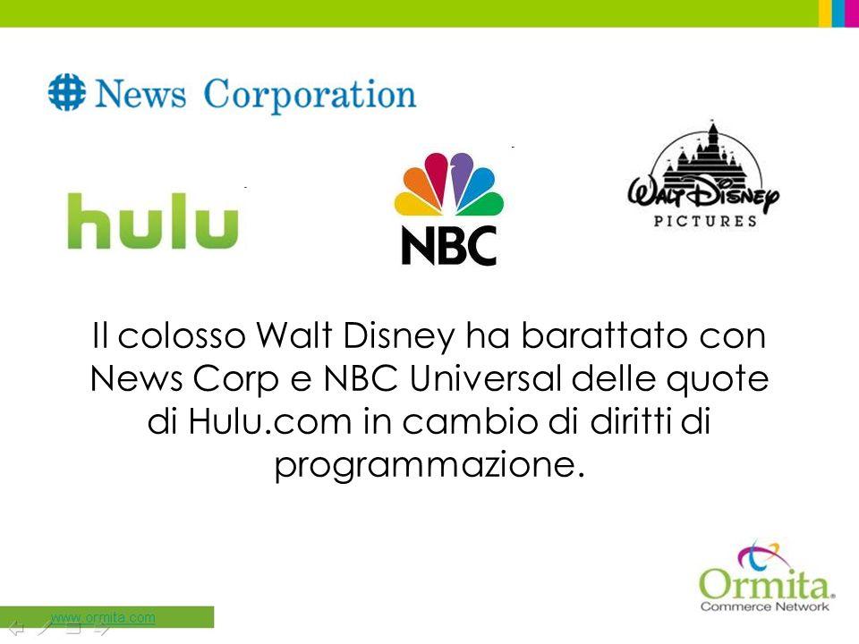 Il colosso Walt Disney ha barattato con News Corp e NBC Universal delle quote di Hulu.com in cambio di diritti di programmazione.