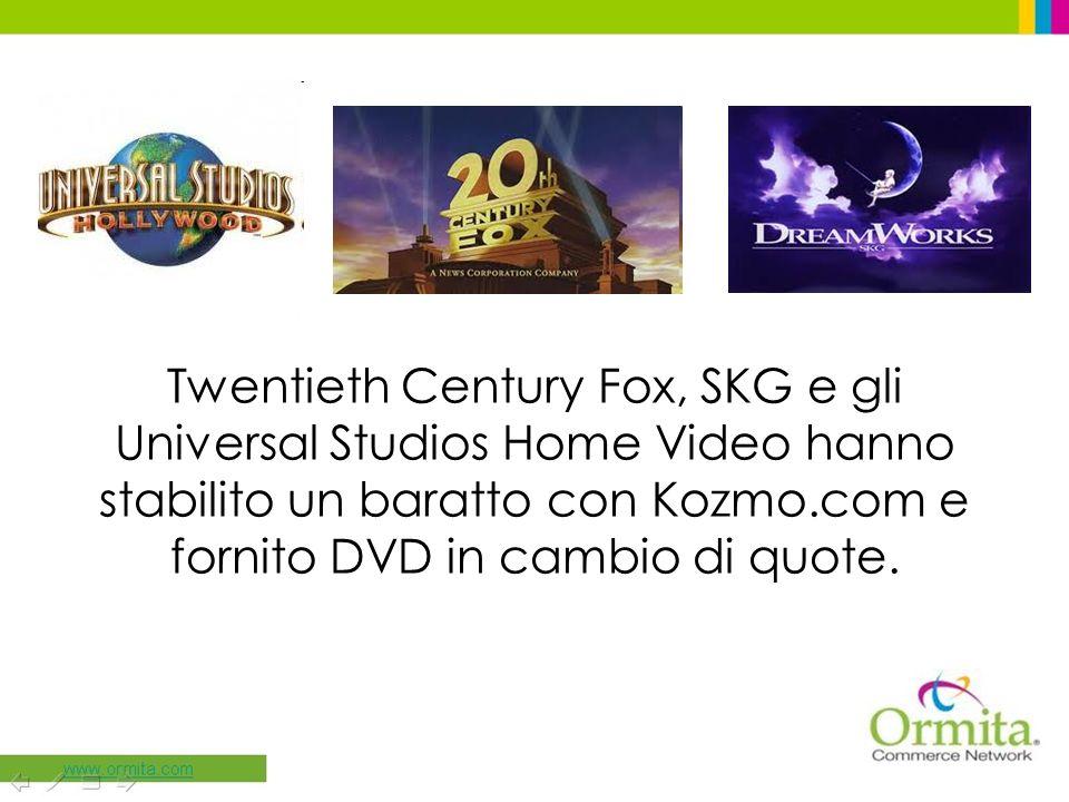 Twentieth Century Fox, SKG e gli Universal Studios Home Video hanno stabilito un baratto con Kozmo.com e fornito DVD in cambio di quote.
