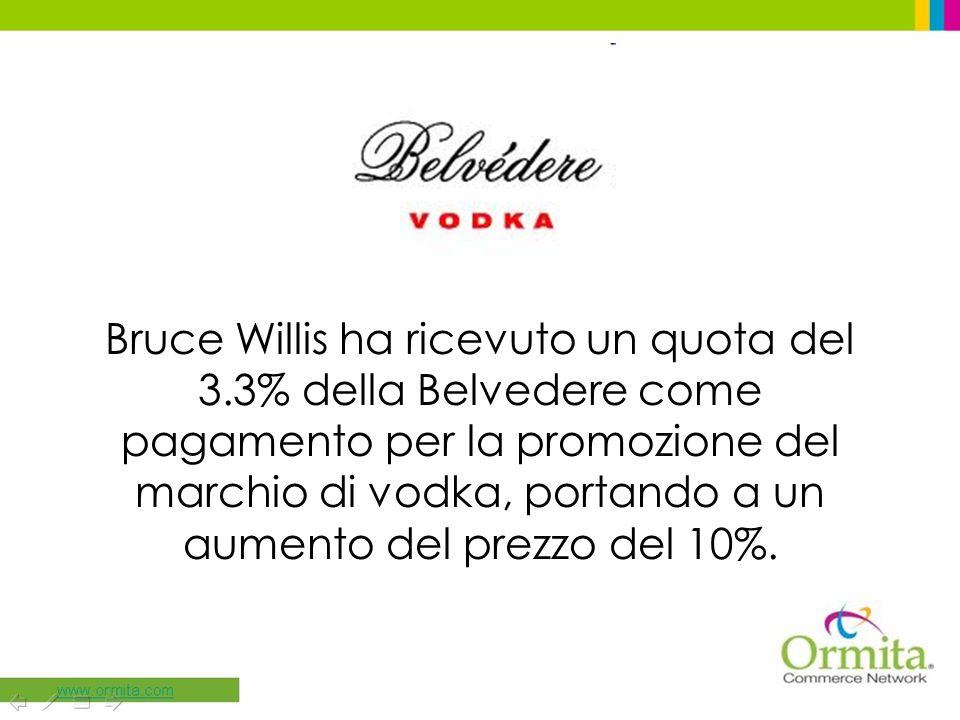 Bruce Willis ha ricevuto un quota del 3.3% della Belvedere come pagamento per la promozione del marchio di vodka, portando a un aumento del prezzo del 10%.