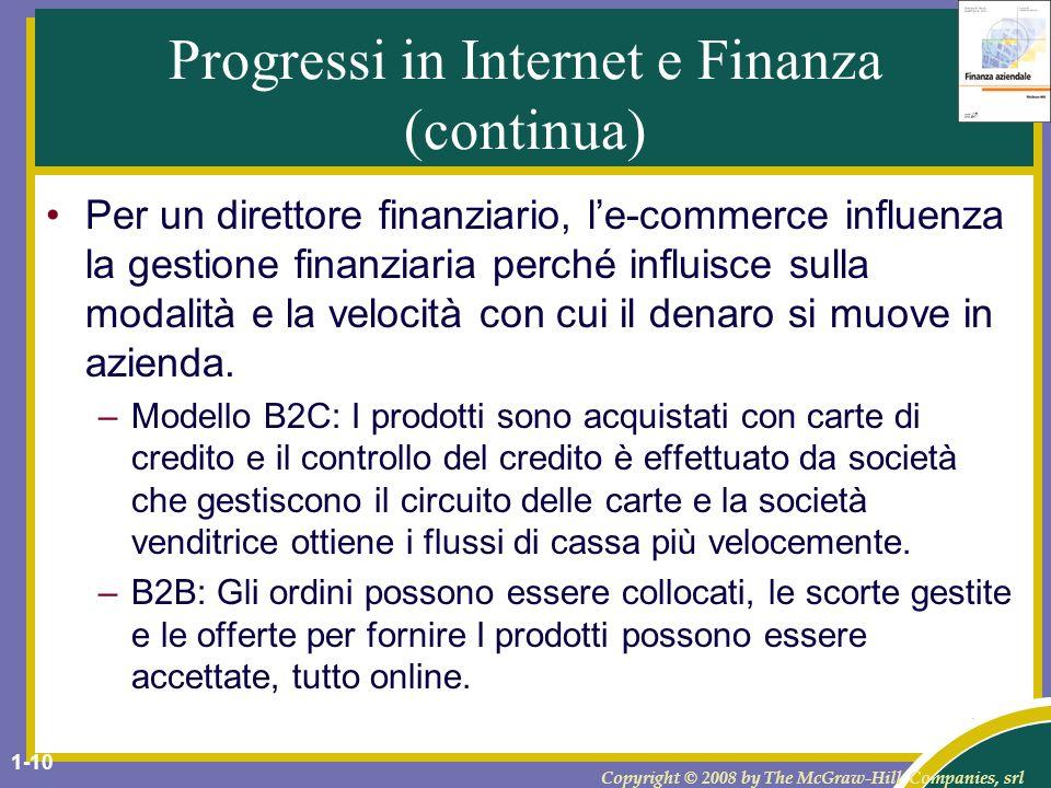 Copyright © 2008 by The McGraw-Hill Companies, srl 1-11 Funzioni del direttore finanziario Continua...