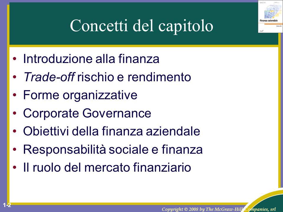 Copyright © 2008 by The McGraw-Hill Companies, srl 1-3 Finanza aziendale La finanza aziendale riguarda la gestione del denaro di unentità.