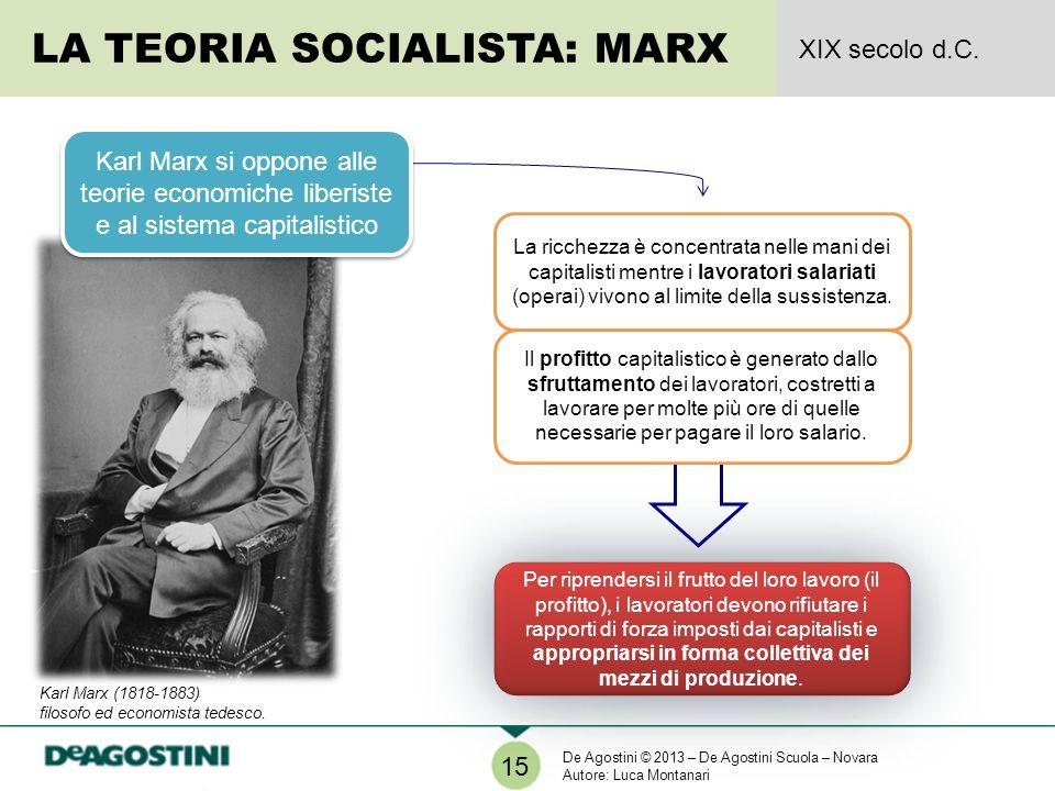 LA TEORIA SOCIALISTA: MARX XIX secolo d.C. 15 Karl Marx si oppone alle teorie economiche liberiste e al sistema capitalistico La ricchezza è concentra