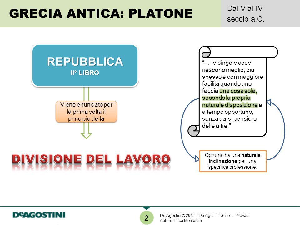 2 GRECIA ANTICA: PLATONE Dal V al IV secolo a.C.REPUBBLICA II° LIBRO REPUBBLICA Viene enunciato per la prima volta il principio della Ognuno ha una na