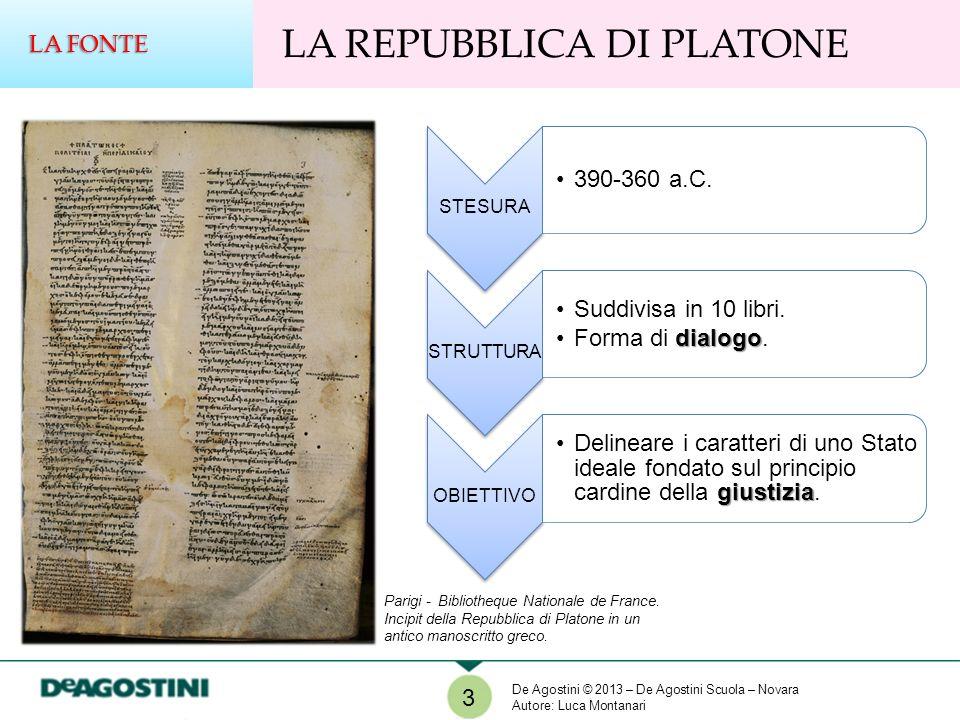 3 LA REPUBBLICA DI PLATONE LA FONTE STESURA 390-360 a.C. STRUTTURA Suddivisa in 10 libri. dialogoForma di dialogo. OBIETTIVO giustiziaDelineare i cara