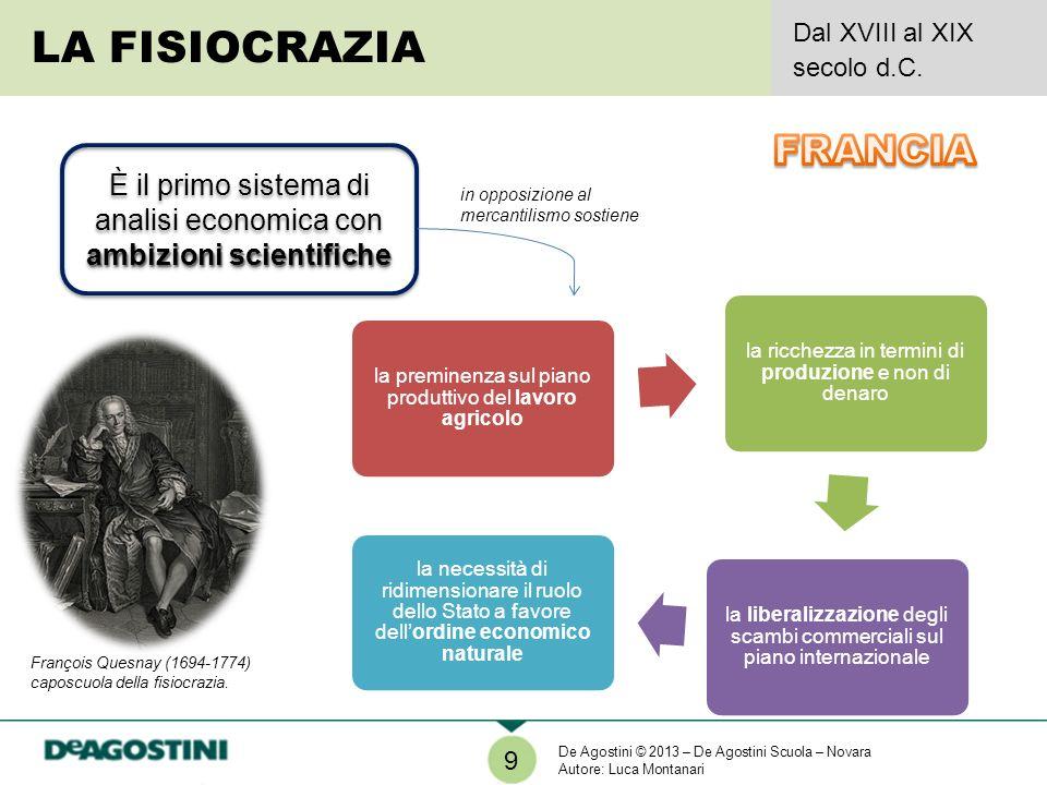 9 LA FISIOCRAZIA Dal XVIII al XIX secolo d.C. ambizioni scientifiche È il primo sistema di analisi economica con ambizioni scientifiche in opposizione