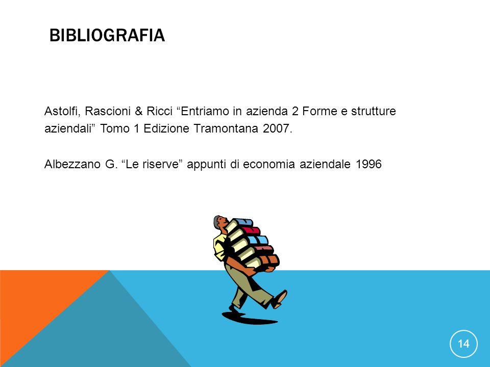 BIBLIOGRAFIA 14 Astolfi, Rascioni & Ricci Entriamo in azienda 2 Forme e strutture aziendali Tomo 1 Edizione Tramontana 2007. Albezzano G. Le riserve a