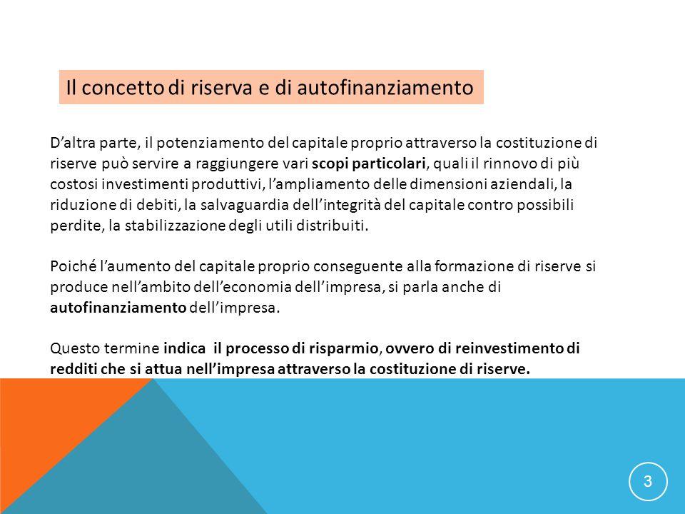 3 Il concetto di riserva e di autofinanziamento Daltra parte, il potenziamento del capitale proprio attraverso la costituzione di riserve può servire