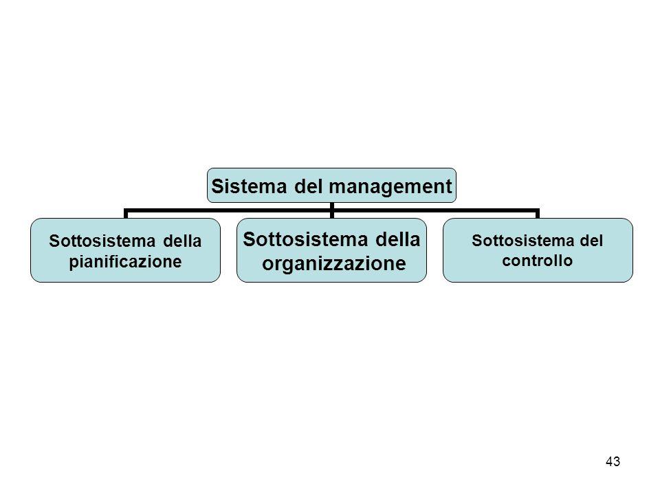 43 Sistema del management Sottosistema della pianificazione Sottosistema della organizzazione Sottosistema del controllo