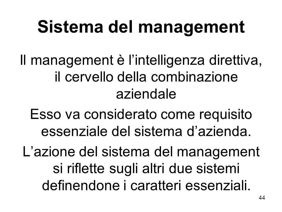 44 Sistema del management Il management è lintelligenza direttiva, il cervello della combinazione aziendale Esso va considerato come requisito essenzi