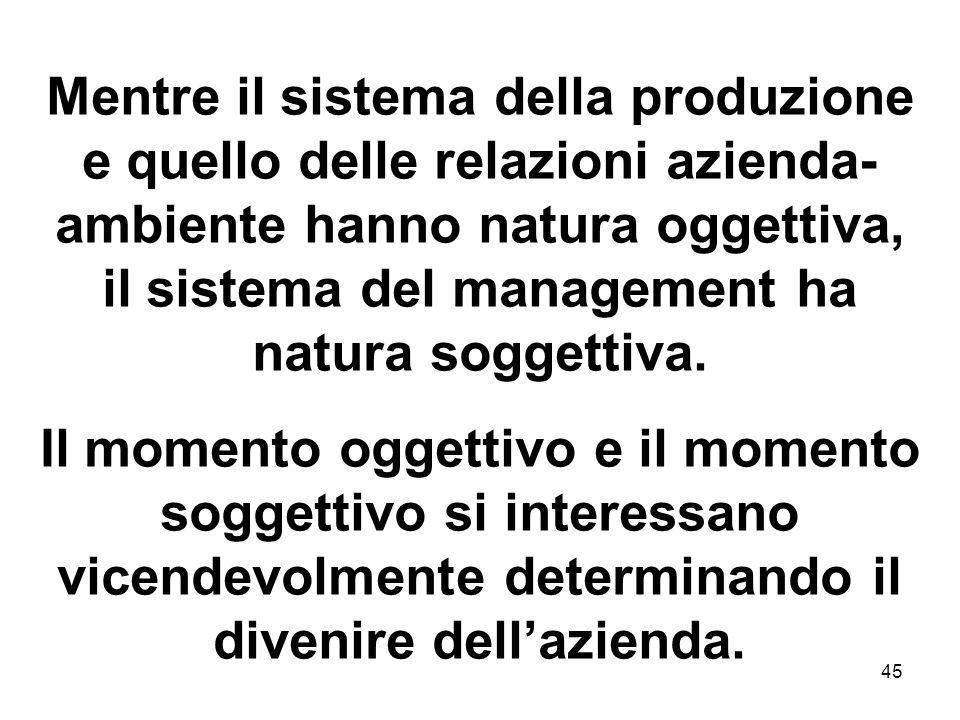 45 Mentre il sistema della produzione e quello delle relazioni azienda- ambiente hanno natura oggettiva, il sistema del management ha natura soggettiv
