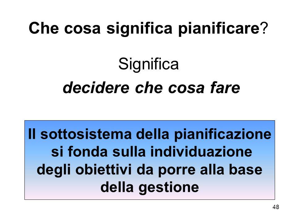 48 Che cosa significa pianificare? Significa decidere che cosa fare Il sottosistema della pianificazione si fonda sulla individuazione degli obiettivi