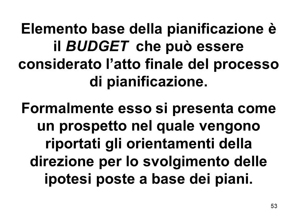 53 Elemento base della pianificazione è il BUDGET che può essere considerato latto finale del processo di pianificazione. Formalmente esso si presenta