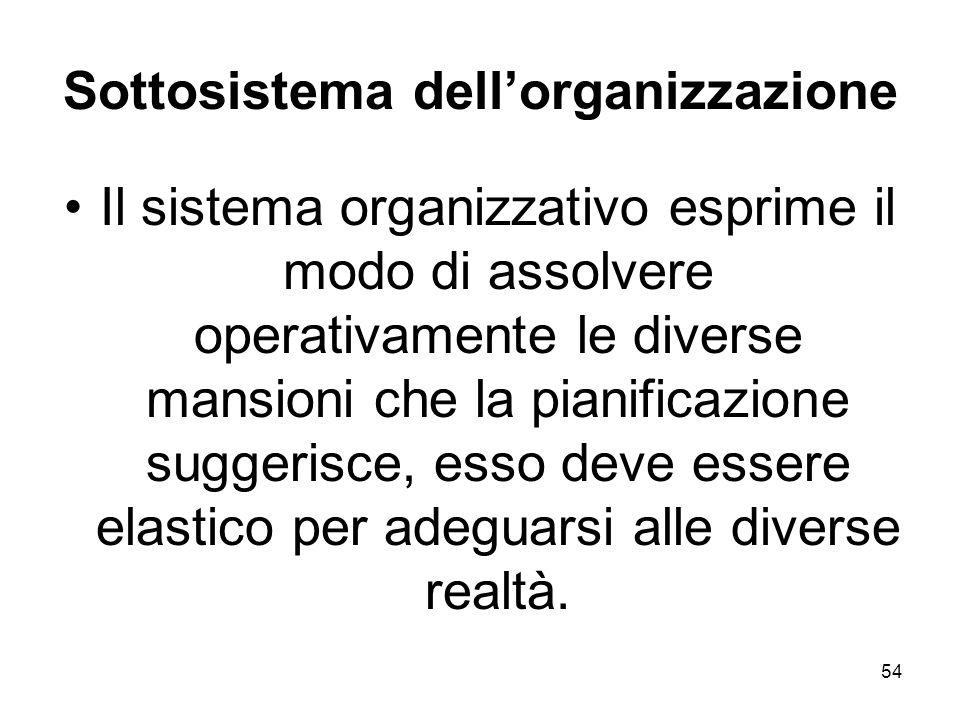 54 Sottosistema dellorganizzazione Il sistema organizzativo esprime il modo di assolvere operativamente le diverse mansioni che la pianificazione sugg