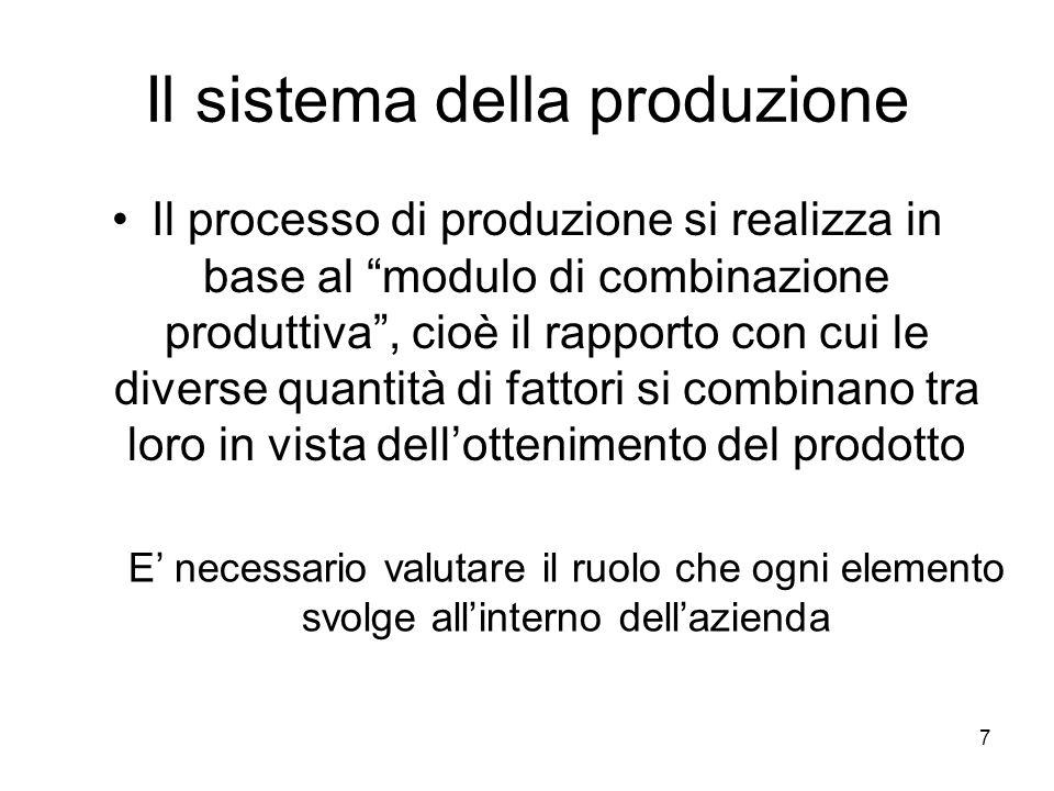 7 Il sistema della produzione Il processo di produzione si realizza in base al modulo di combinazione produttiva, cioè il rapporto con cui le diverse
