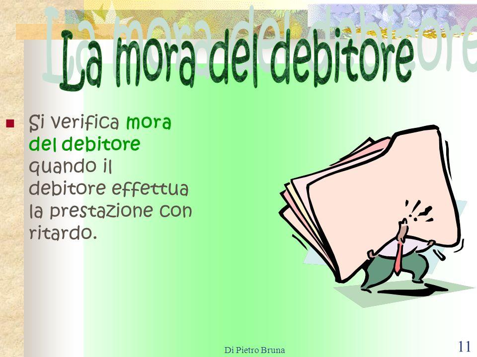 Di Pietro Bruna 10 Il dolo consiste in un comportamento volutamente preordinato (coscienza e volontà del fatto)al fine di non adempiere lobbligazione.