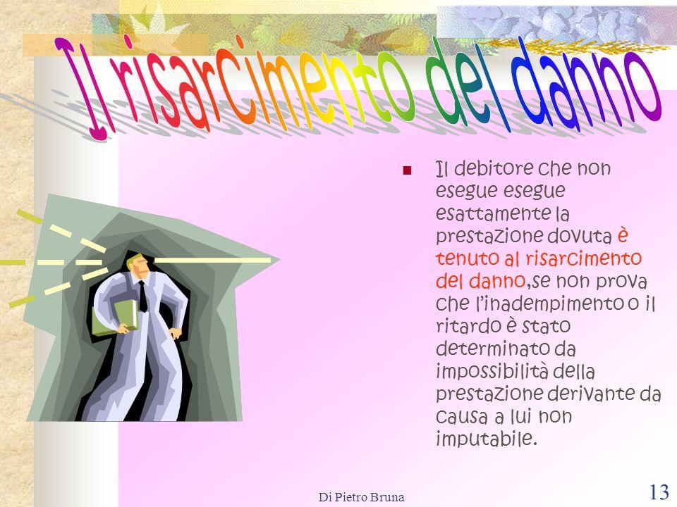 Di Pietro Bruna 12 Caso fortuito,ossia un evento non prevedibile e non evitabile,solitame nte individuato nelle cosiddette calamità. Forza maggiore,os
