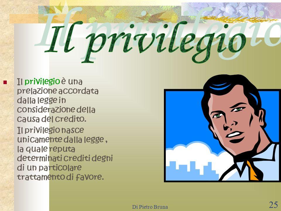 Di Pietro Bruna 24 La legge assicura a certi creditori una causa legittima di prelazione, ossia attribuisce loro il diritto di soddisfarsi a preferenz