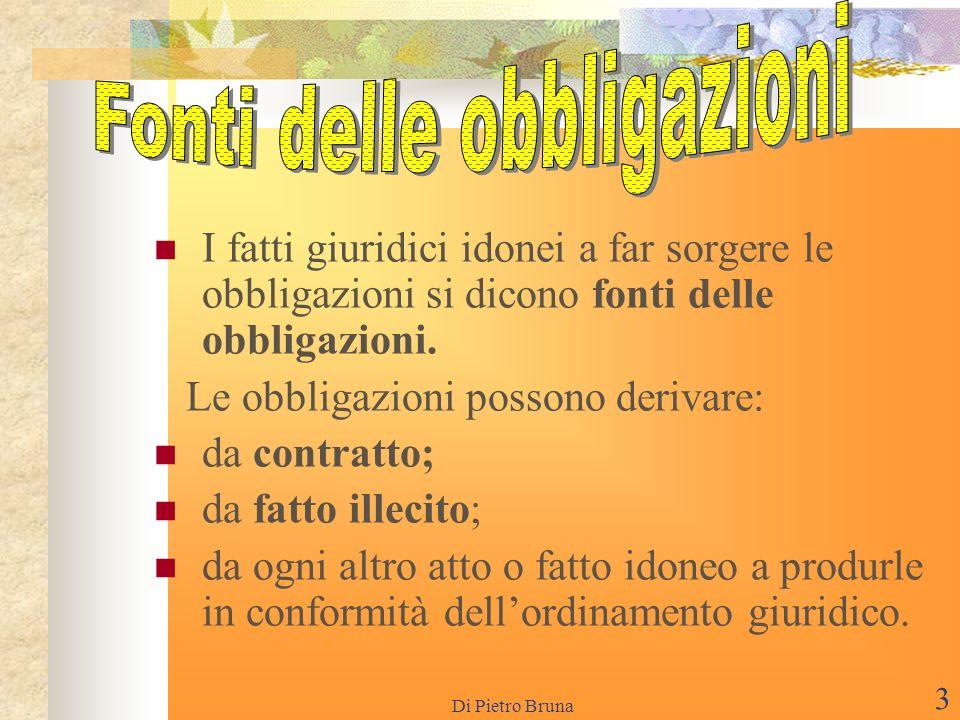 Di Pietro Bruna 2 I SOGGETTI Nel rapporto di obbligazione vi sono due parti distinte:il creditore,o soggetto attivo,cioè colui che esercita la pretesa