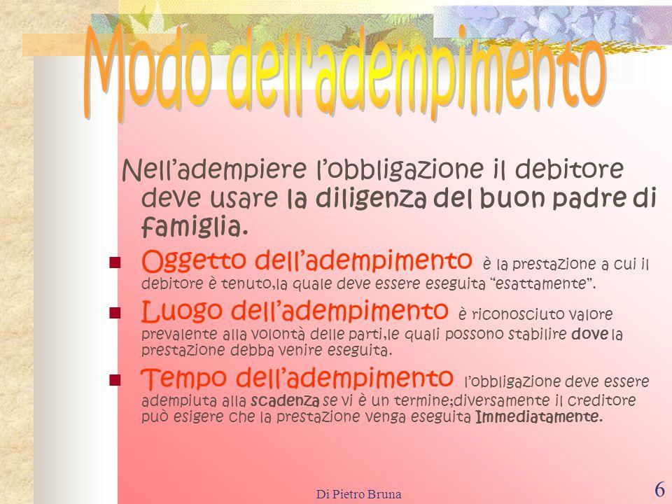 Di Pietro Bruna 16 Sono modi di estinzione dellobbligazione diversi dalladempimento: La compensazione; La confusione; La novazione; La remissione del debito; Limpossibilità sopravvenuta della prestazione per causa non imputabile al debitore; La prescrizione.