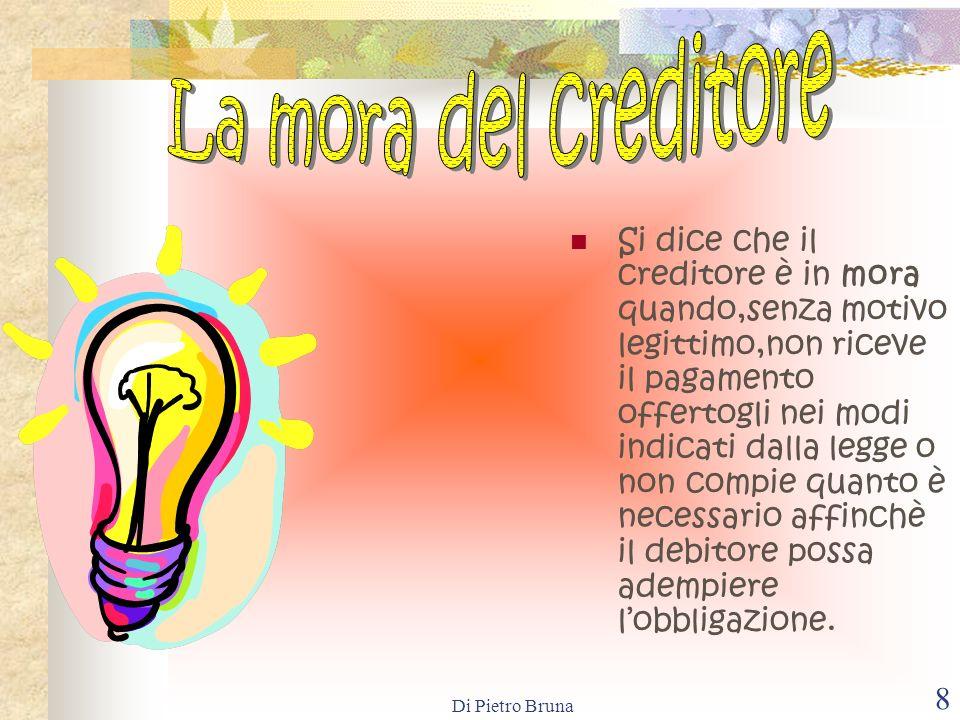 Di Pietro Bruna 18 La confusione è un modo di estinzione dellobbligazione che si attiva quando le qualità di creditore e di debitore si riuniscono nella stessa persona.