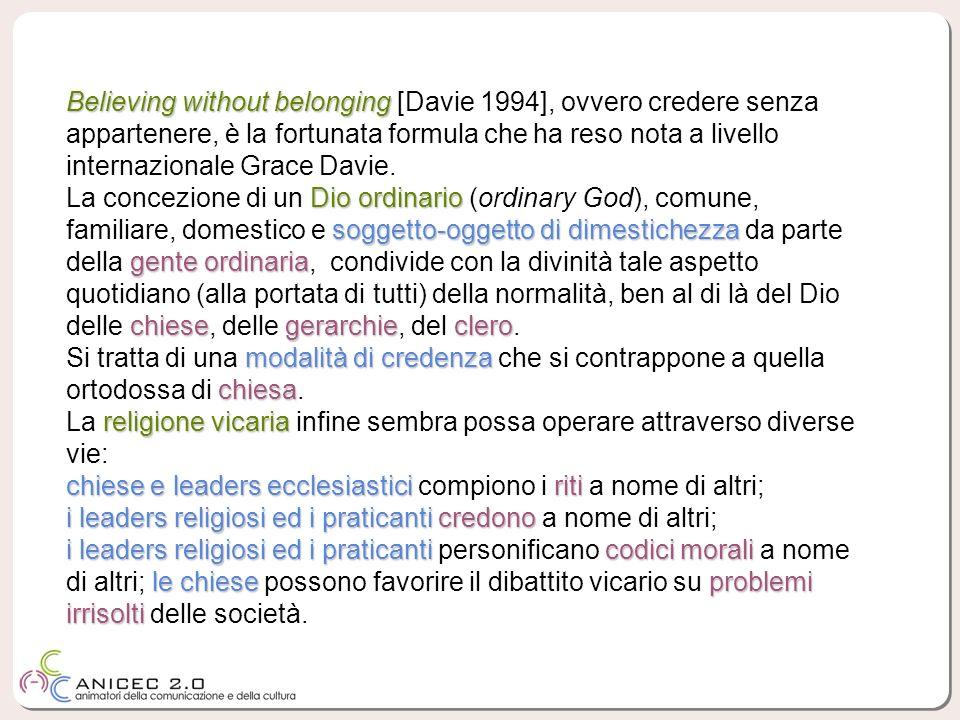 Believing without belonging Believing without belonging [Davie 1994], ovvero credere senza appartenere, è la fortunata formula che ha reso nota a livello internazionale Grace Davie.