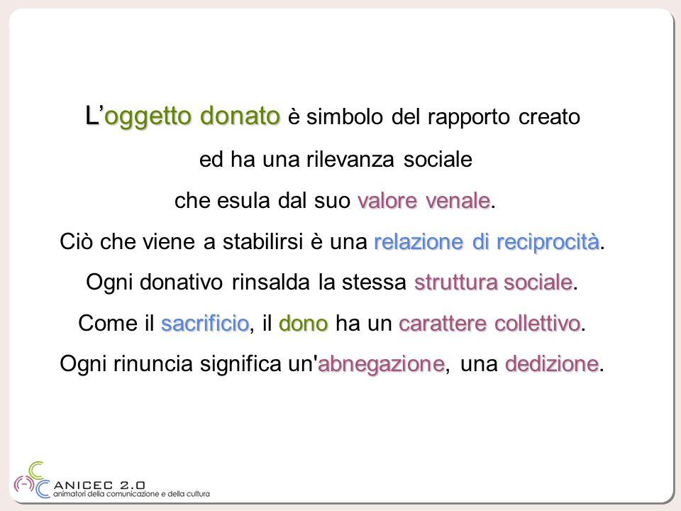 Loggetto donato Loggetto donato è simbolo del rapporto creato ed ha una rilevanza sociale valore venale che esula dal suo valore venale.