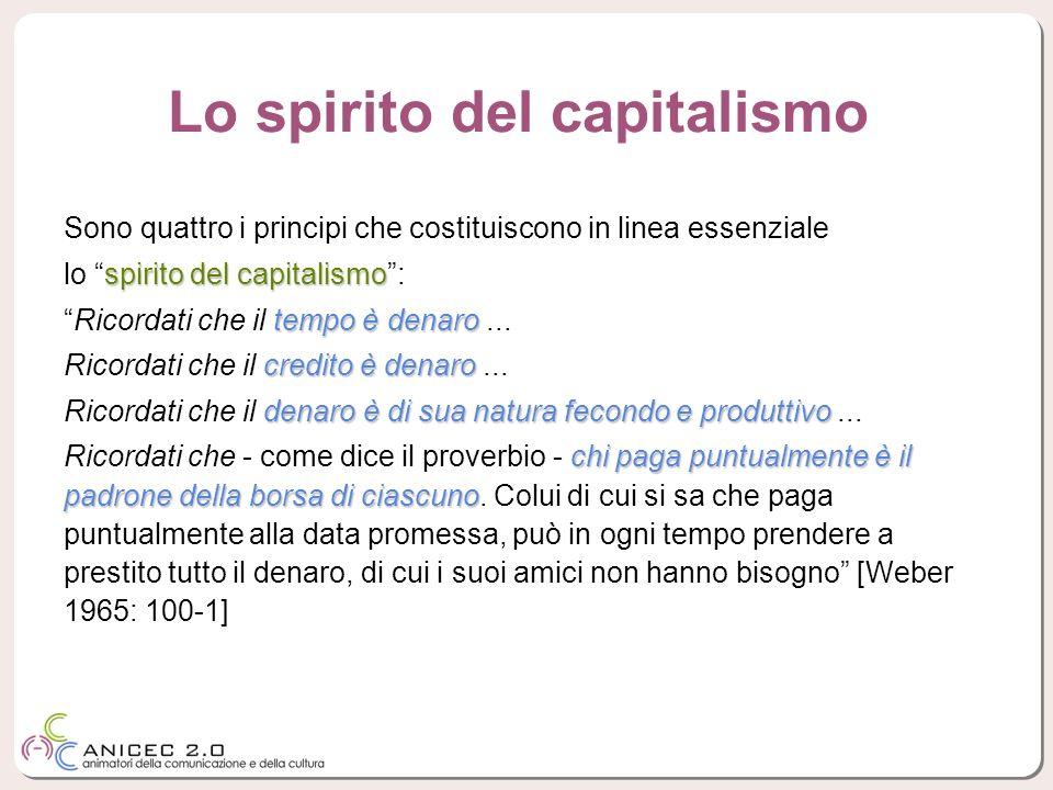 Sono quattro i principi che costituiscono in linea essenziale spirito del capitalismo lo spirito del capitalismo: tempo è denaroRicordati che il tempo
