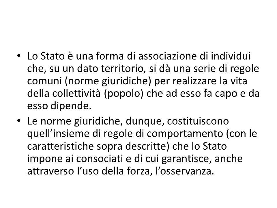 Lo Stato è una forma di associazione di individui che, su un dato territorio, si dà una serie di regole comuni (norme giuridiche) per realizzare la vi