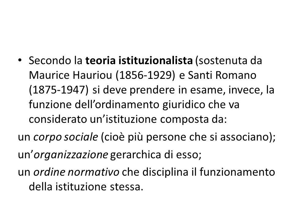 Secondo la teoria istituzionalista (sostenuta da Maurice Hauriou (1856-1929) e Santi Romano (1875-1947) si deve prendere in esame, invece, la funzione