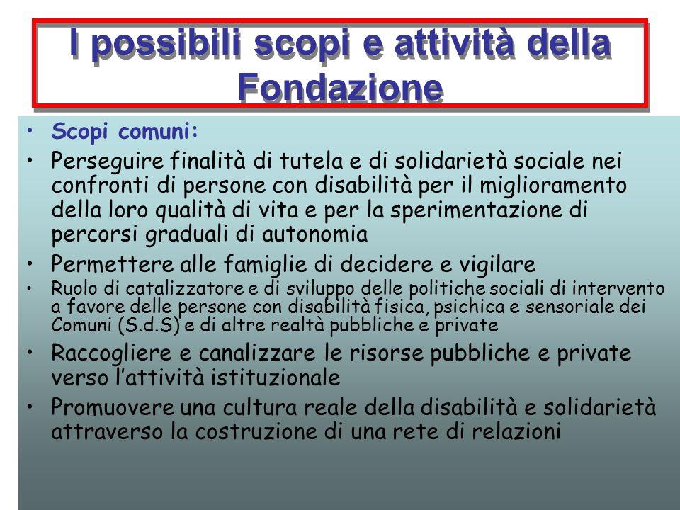 I possibili scopi e attività della Fondazione Scopi comuni: Perseguire finalità di tutela e di solidarietà sociale nei confronti di persone con disabi