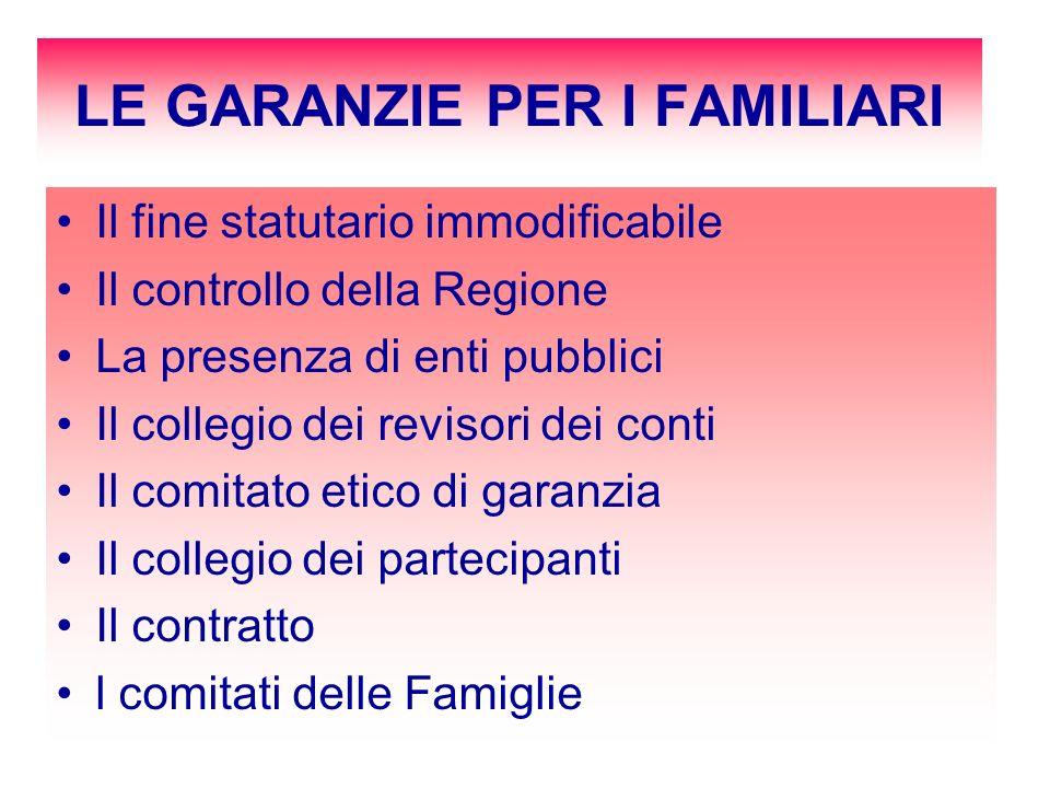 LE GARANZIE PER I FAMILIARI Il fine statutario immodificabile Il controllo della Regione La presenza di enti pubblici Il collegio dei revisori dei con
