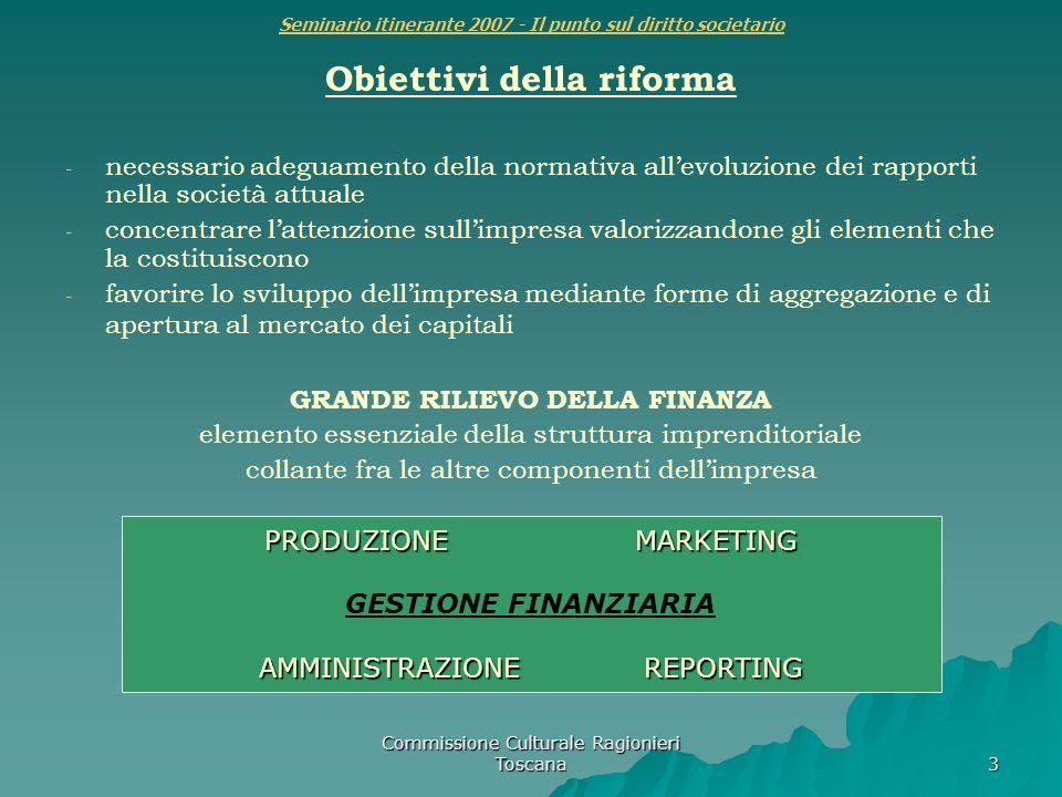 Commissione Culturale Ragionieri Toscana 3 Seminario itinerante 2007 - Il punto sul diritto societario Obiettivi della riforma - - necessario adeguame
