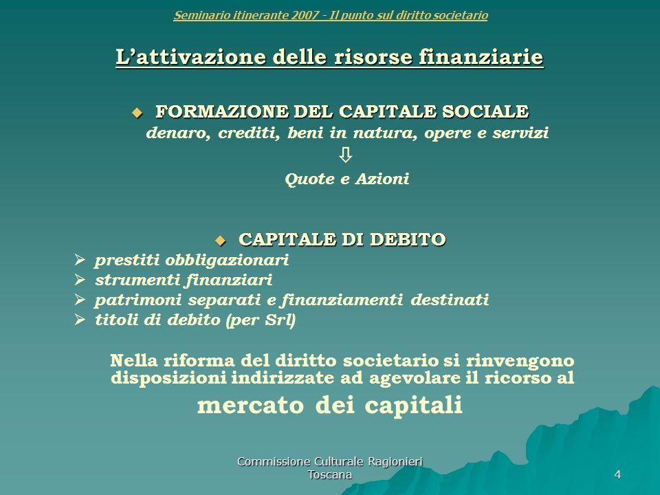 Commissione Culturale Ragionieri Toscana 4 Seminario itinerante 2007 - Il punto sul diritto societario Lattivazione delle risorse finanziarie FORMAZIO