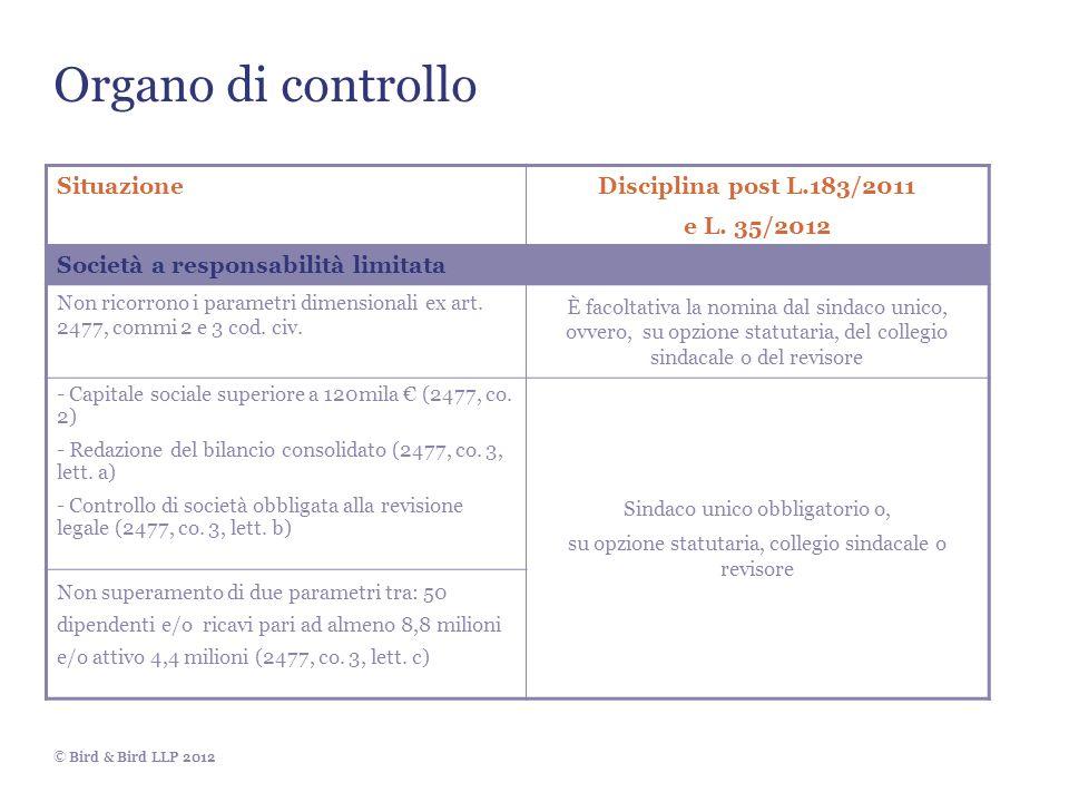© Bird & Bird LLP 2012 Organo di controllo SituazioneDisciplina post L.183/2011 e L. 35/2012 Società a responsabilità limitata Non ricorrono i paramet