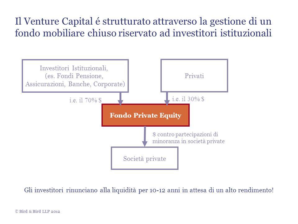 © Bird & Bird LLP 2012 Investitori Istituzionali, (es. Fondi Pensione, Assicurazioni, Banche, Corporate) Privati Fondo Private Equity Società private